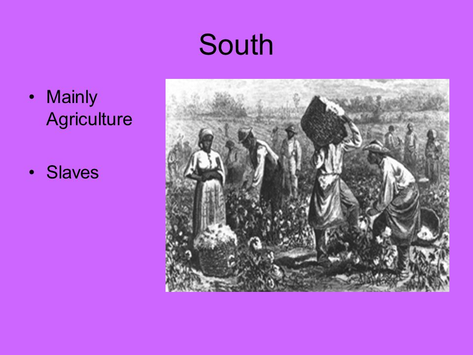 South Mainly Agriculture Slaves