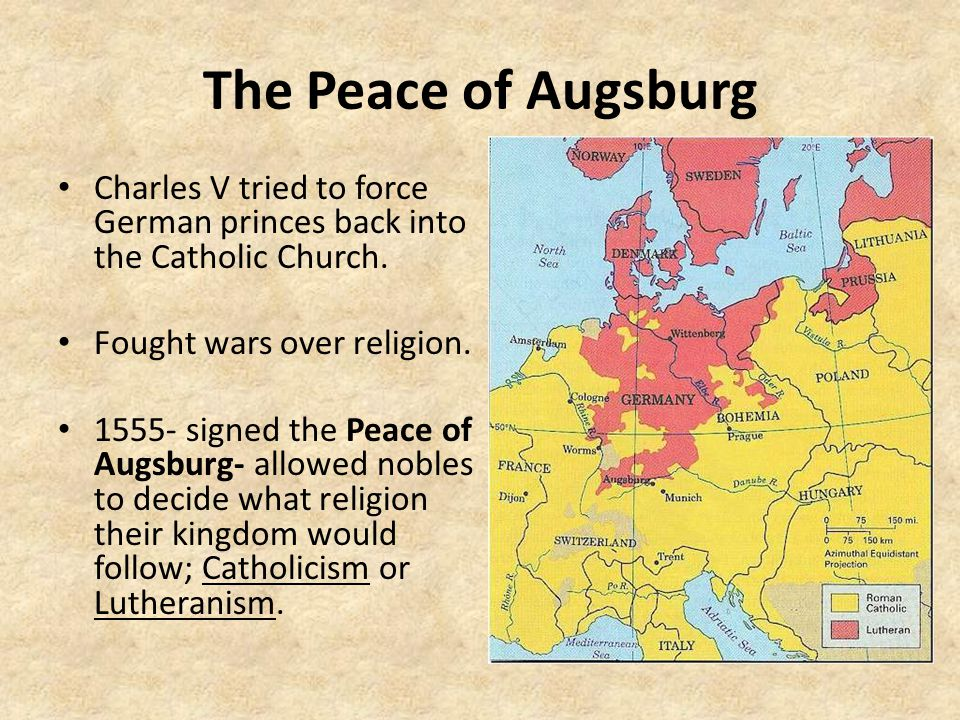 The Peace of Augsburg Charles V tried to force German princes back into the Catholic Church.