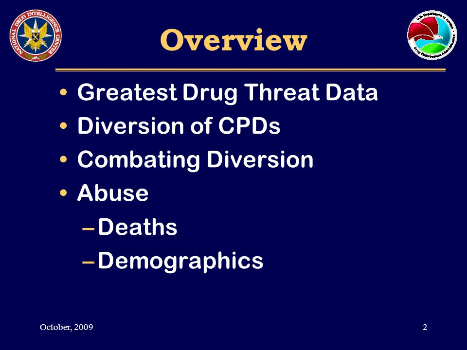 LEA Reporting Pharmaceutical Diversion as the Greatest Drug Threat 3October, 2009 Source: National Drug Threat Survey