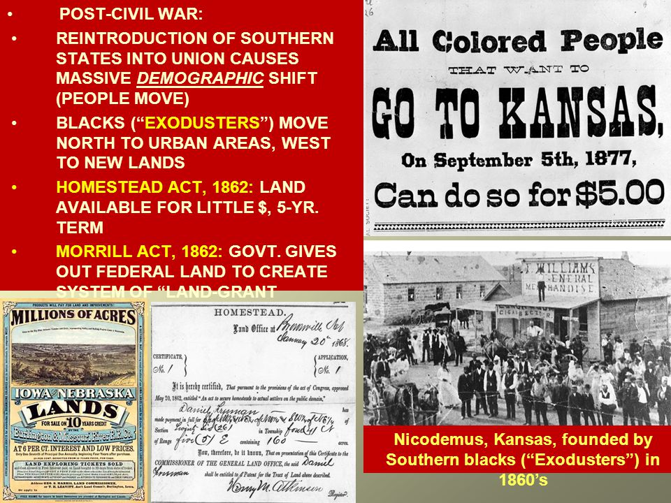 POST-CIVIL WAR: REINTRODUCTION OF SOUTHERN STATES INTO UNION CAUSES MASSIVE DEMOGRAPHIC SHIFT (PEOPLE MOVE) BLACKS ( EXODUSTERS ) MOVE NORTH TO URBAN AREAS, WEST TO NEW LANDS HOMESTEAD ACT, 1862: LAND AVAILABLE FOR LITTLE $, 5-YR.