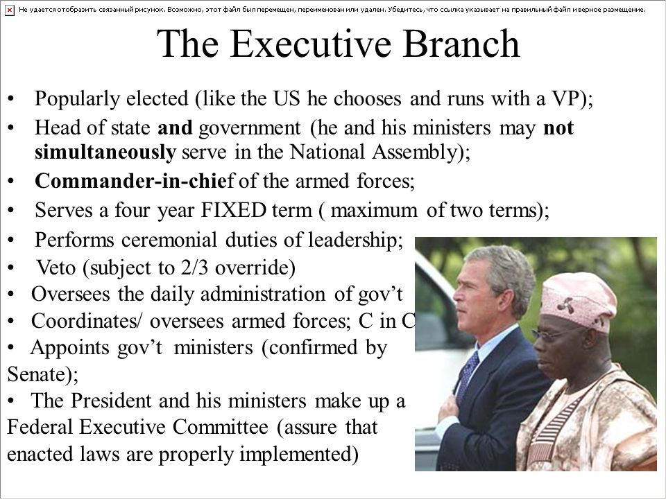 The Executive Branch Popularly elected (like the US he chooses and runs with a VP); Head of state and government (he and his ministers may not simultaneously serve in the National Assembly); Commander-in-chief of the armed forces; Serves a four year FIXED term ( maximum of two terms); Performs ceremonial duties of leadership; Veto (subject to 2/3 override) Oversees the daily administration of gov't Coordinates/ oversees armed forces; C in C Appoints gov't ministers (confirmed by Senate); The President and his ministers make up a Federal Executive Committee (assure that enacted laws are properly implemented)