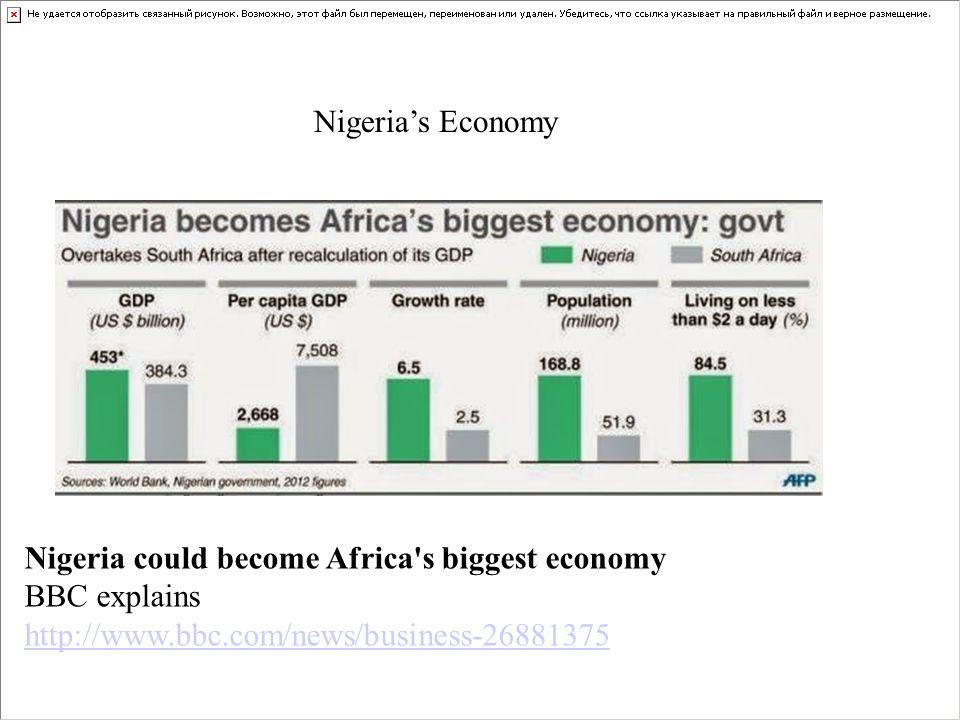 Nigeria's Economy Nigeria could become Africa's biggest economy BBC explains http://www.bbc.com/news/business-26881375