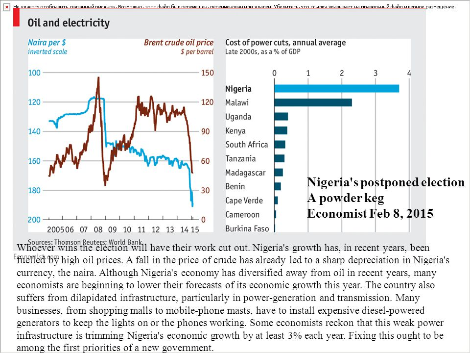 Whoever wins the election will have their work cut out. Nigeria's growth has, in recent years, been fuelled by high oil prices. A fall in the price of
