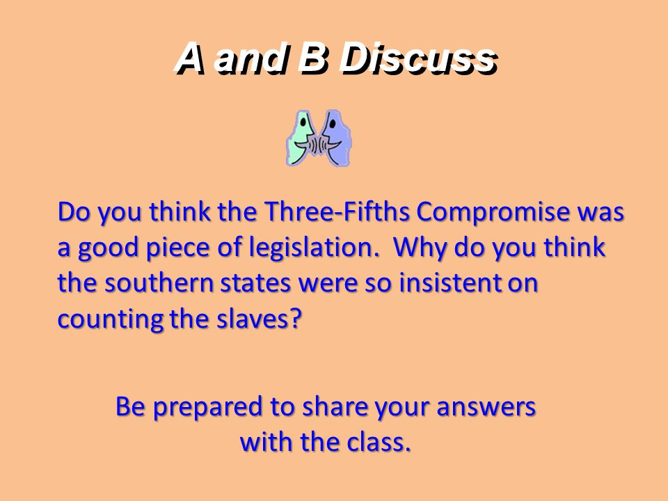 A and B Discuss Do you think the Three-Fifths Compromise was a good piece of legislation. Why do you think the southern states were so insistent on co