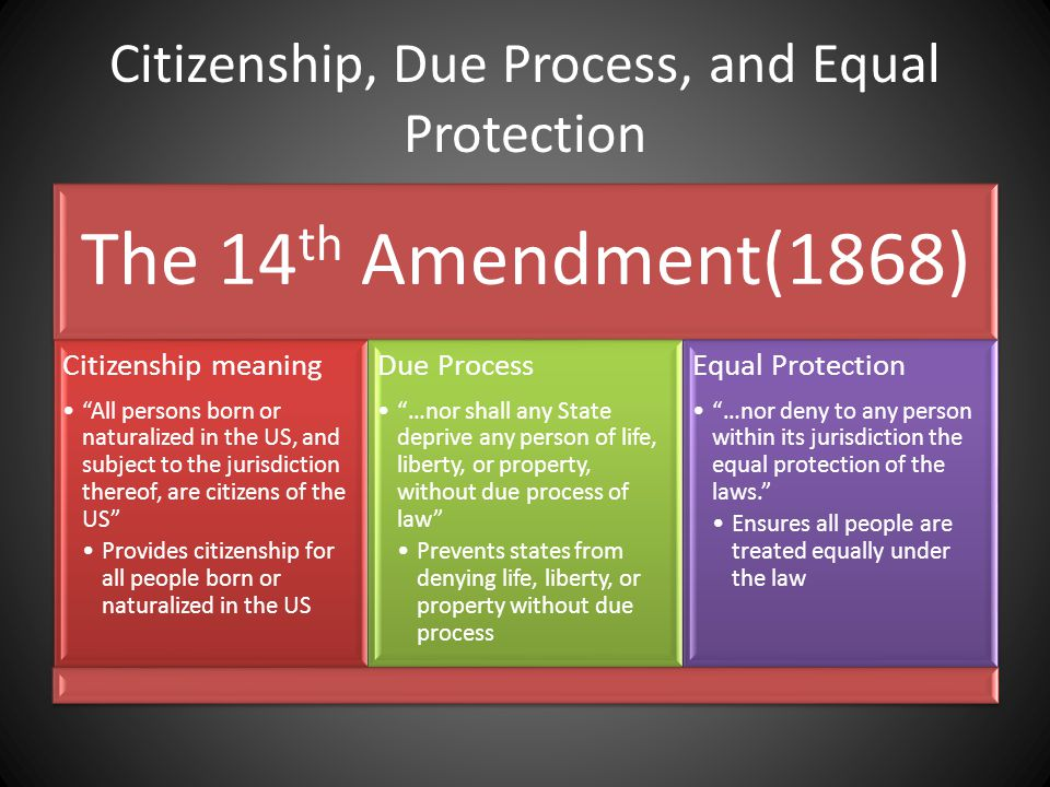 """Citizenship, Due Process, and Equal Protection The 14 th Amendment(1868) Citizenship meaning """"All persons born or naturalized in the US, and subject t"""