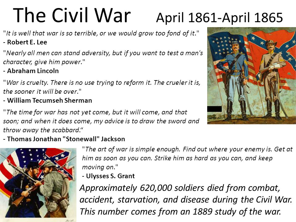 The Civil War April 1861-April 1865 It is well that war is so terrible, or we would grow too fond of it. - Robert E.