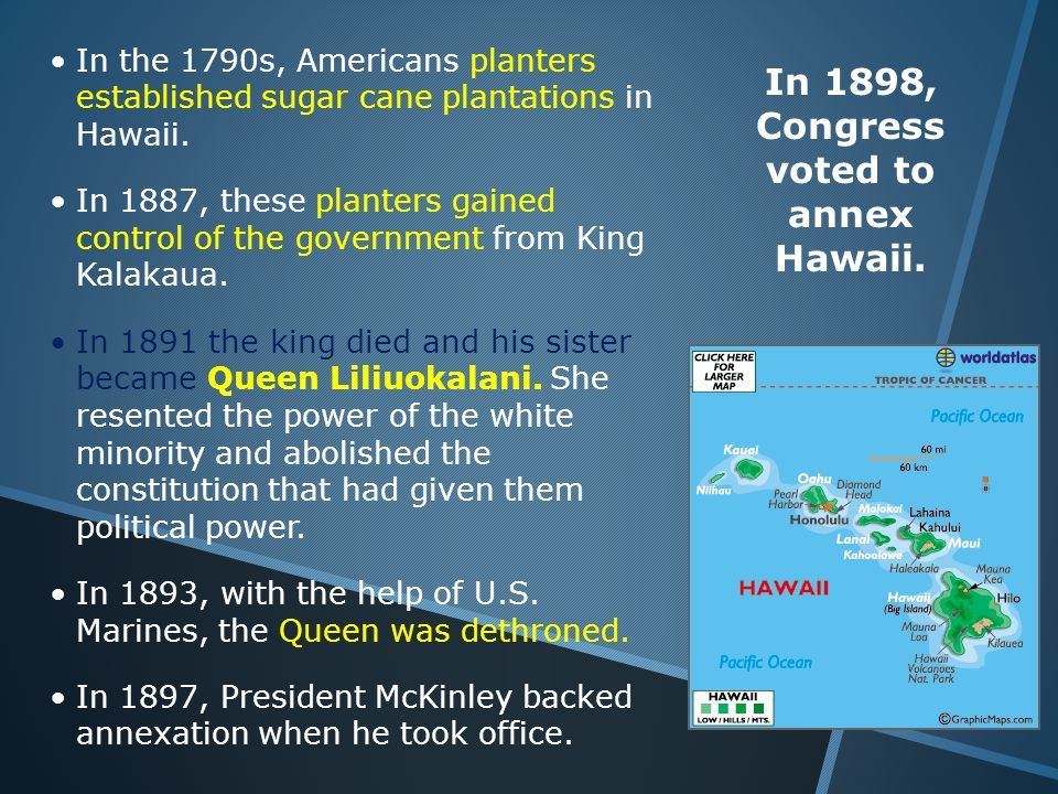 In the 1790s, Americans planters established sugar cane plantations in Hawaii.