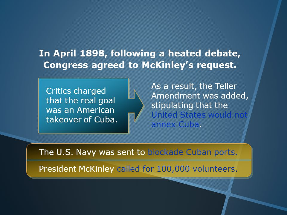 In April 1898, following a heated debate, Congress agreed to McKinley's request.