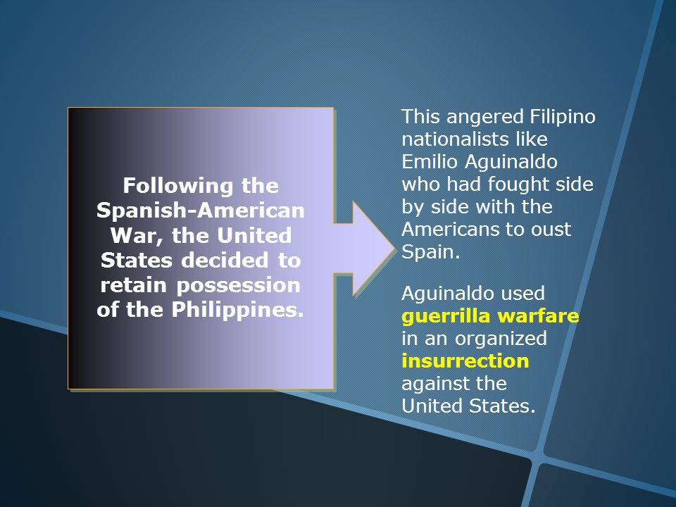 This angered Filipino nationalists like Emilio Aguinaldo who had fought side by side with the Americans to oust Spain.