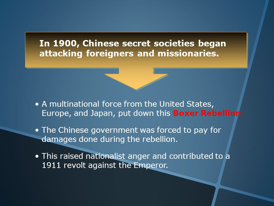 In 1900, Chinese secret societies began attacking foreigners and missionaries.