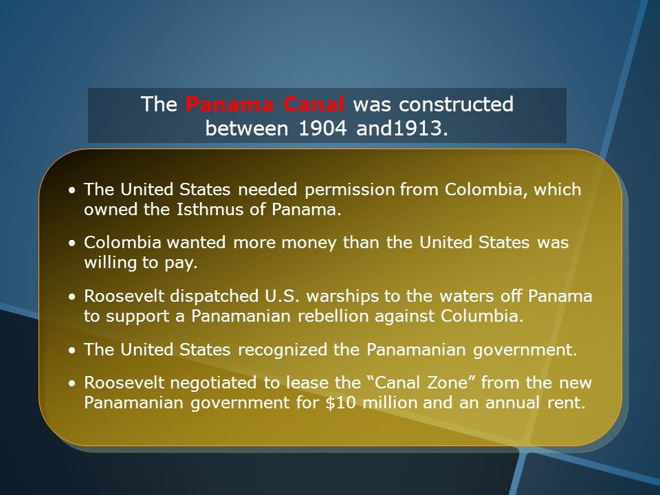 The United States needed permission from Colombia, which owned the Isthmus of Panama.