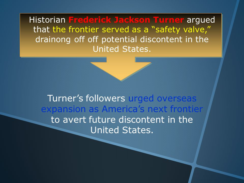 Historian Frederick Jackson Turner argued that the frontier served as a safety valve, drainong off off potential discontent in the United States.