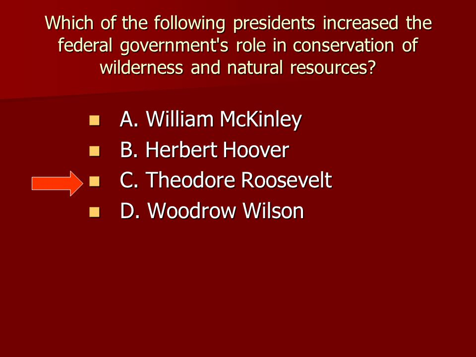 Which of the following presidents increased the federal government's role in conservation of wilderness and natural resources? A. William McKinley A.