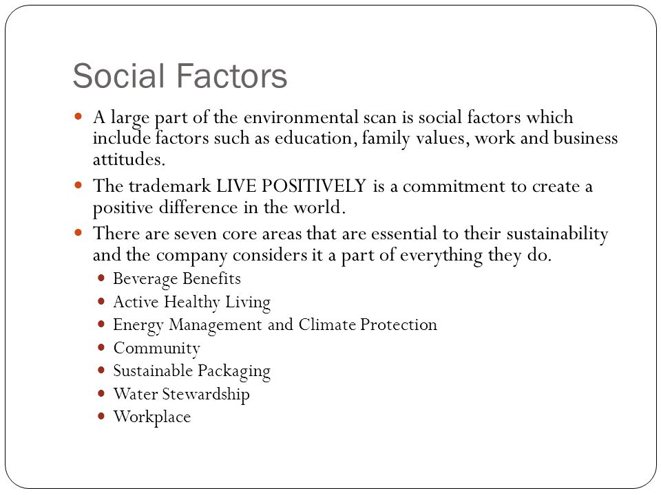 Social Factors A large part of the environmental scan is social factors which include factors such as education, family values, work and business atti