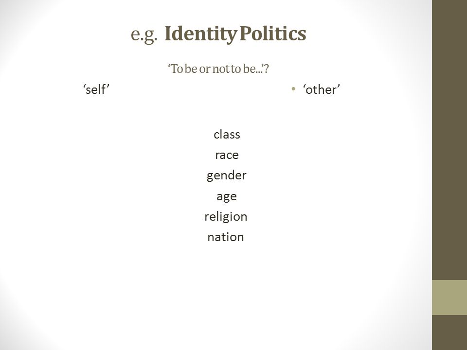 e.g. Identity Politics 'To be or not to be...'.