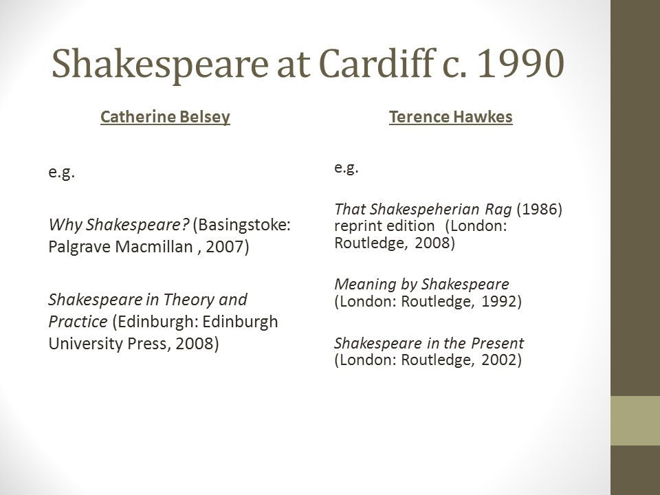 Shakespeare at Cardiff c. 1990 Catherine BelseyTerence Hawkes e.g.