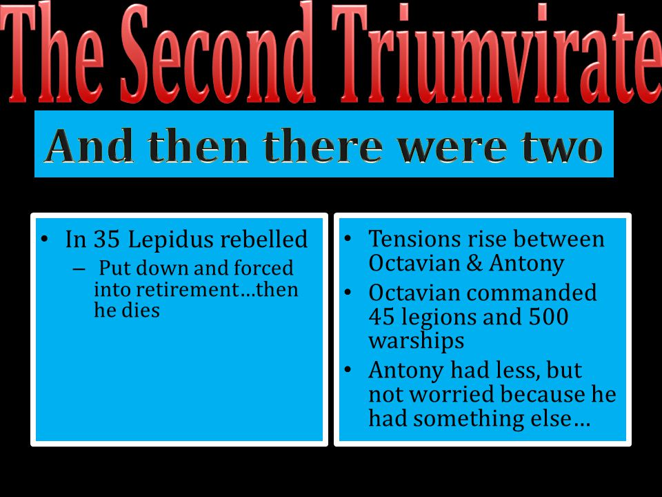 In 35 Lepidus rebelled – Put down and forced into retirement…then he dies Tensions rise between Octavian & Antony Octavian commanded 45 legions and 50