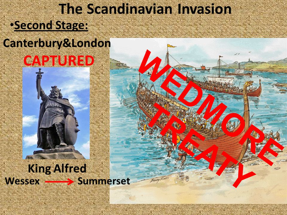 The Scandinavian Invasion Second Stage: Canterbury&London CAPTURED King Alfred Wessex Summerset WEDMORE TREATY