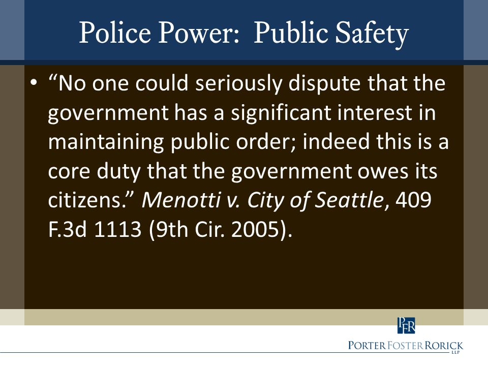 Police Power: Public Safety No one could seriously dispute that the government has a significant interest in maintaining public order; indeed this is a core duty that the government owes its citizens. Menotti v.