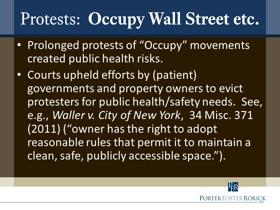 Protests: Occupy Wall Street etc.