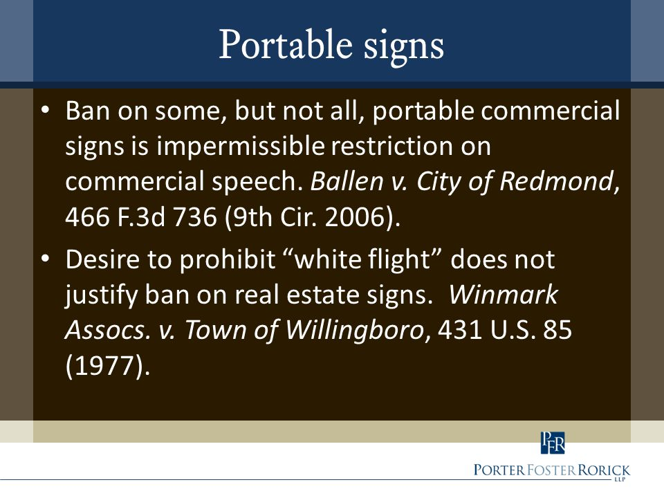 Ban on some, but not all, portable commercial signs is impermissible restriction on commercial speech.
