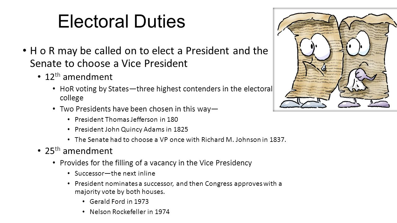 Electoral Duties H o R may be called on to elect a President and the Senate to choose a Vice President 12 th amendment HoR voting by States—three high