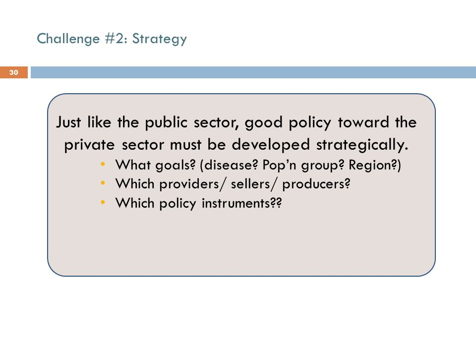 Challenge #2: Strategy 30 Just like the public sector, good policy toward the private sector must be developed strategically.
