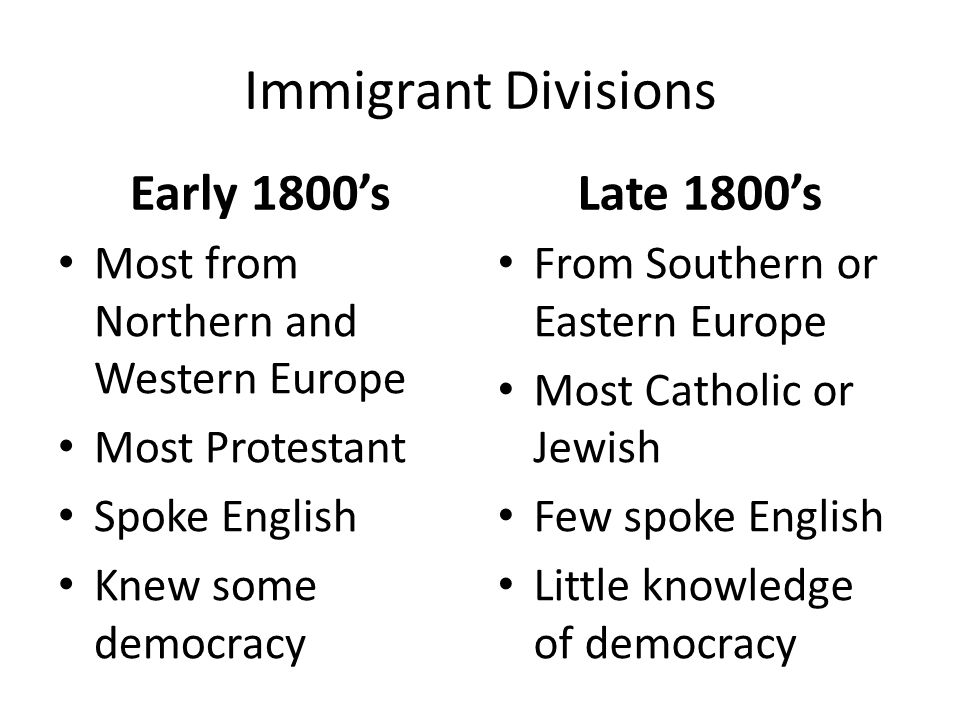Immigrant Divisions Early 1800's Most from Northern and Western Europe Most Protestant Spoke English Knew some democracy Late 1800's From Southern or