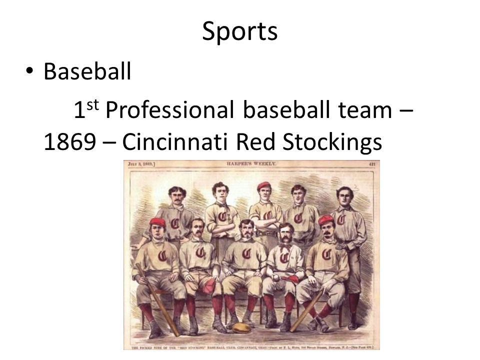 Sports Baseball 1 st Professional baseball team – 1869 – Cincinnati Red Stockings