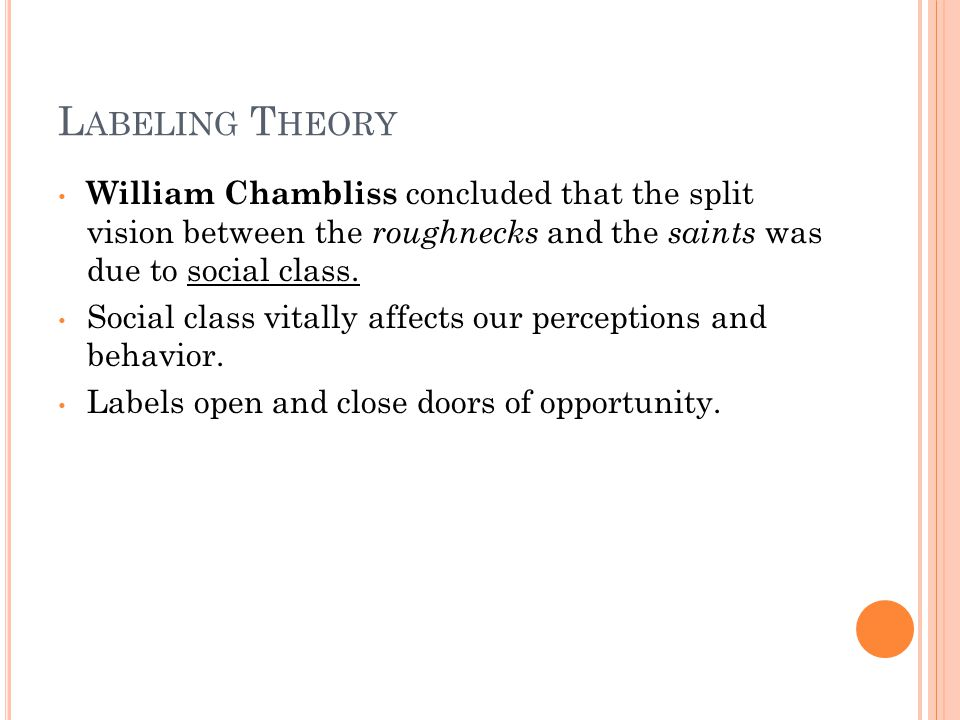 L ABELING T HEORY William Chambliss concluded that the split vision between the roughnecks and the saints was due to social class.