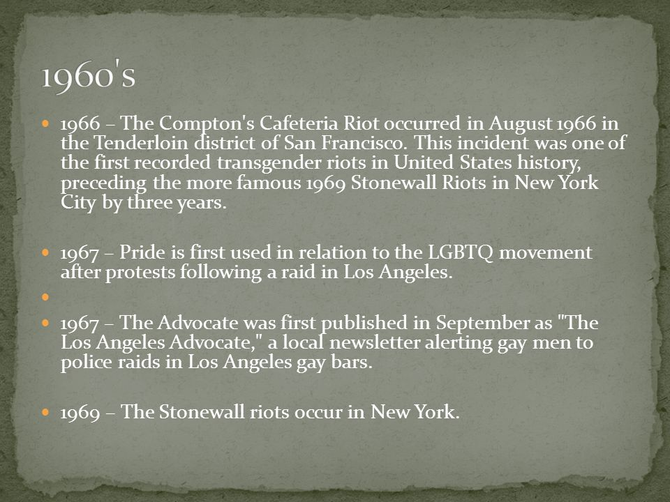1970 – The first Gay Liberation Day March is held in New York City The first LGBT Pride Parade is held in Los Angeles.
