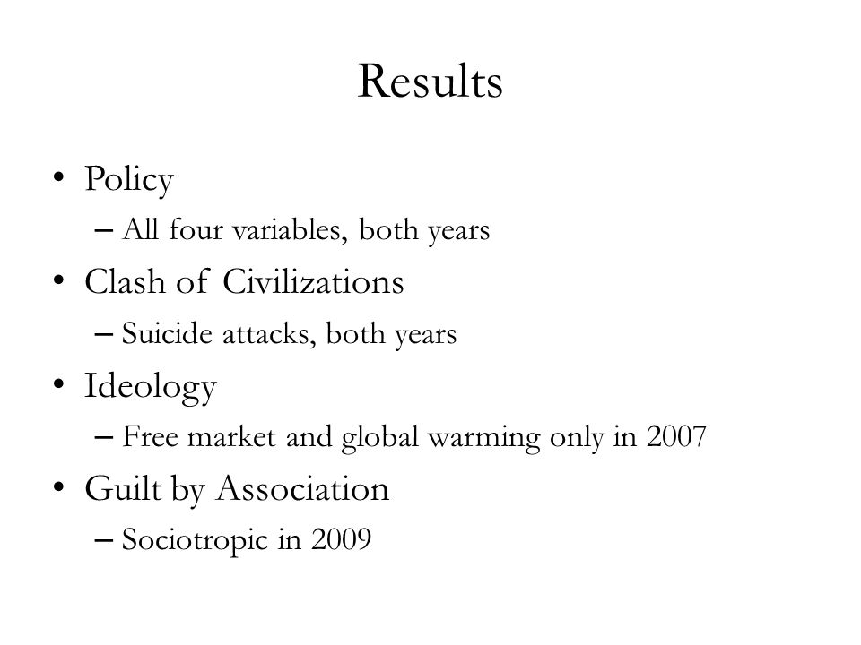 Results Policy – All four variables, both years Clash of Civilizations – Suicide attacks, both years Ideology – Free market and global warming only in 2007 Guilt by Association – Sociotropic in 2009