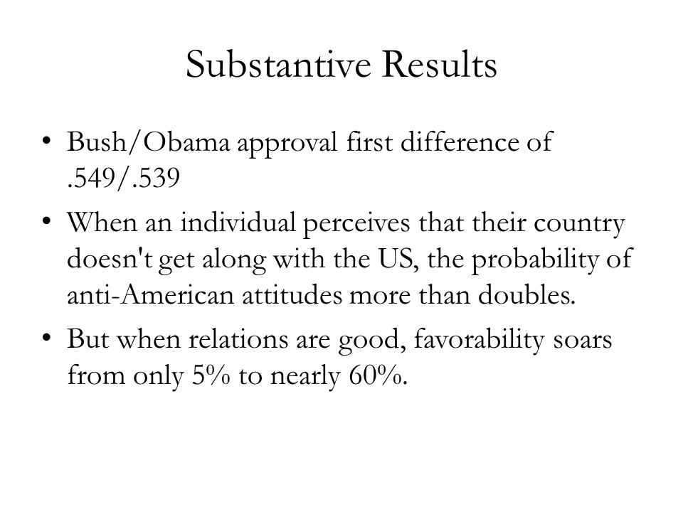 Substantive Results Bush/Obama approval first difference of.549/.539 When an individual perceives that their country doesn t get along with the US, the probability of anti-American attitudes more than doubles.
