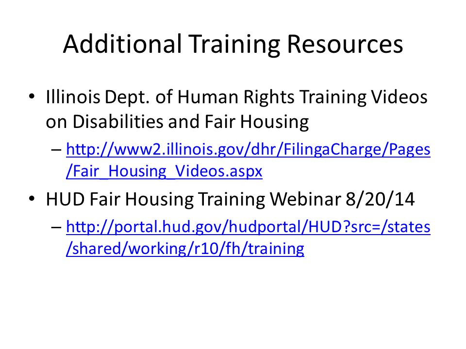 Additional Training Resources Illinois Dept.