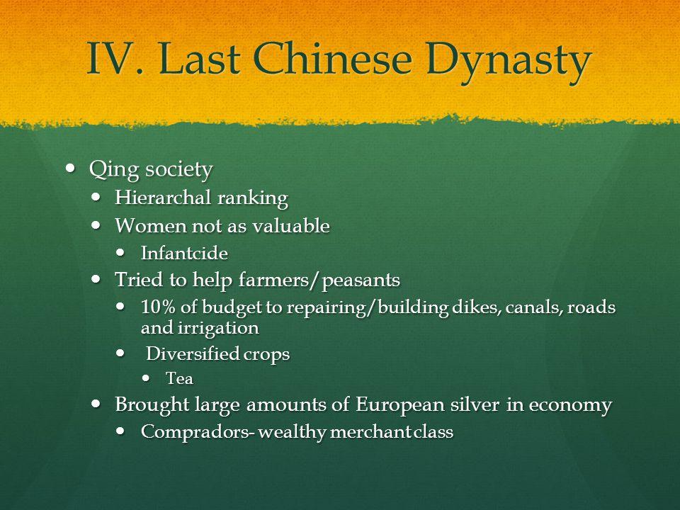 IV. Last Chinese Dynasty Qing society Qing society Hierarchal ranking Hierarchal ranking Women not as valuable Women not as valuable Infantcide Infant