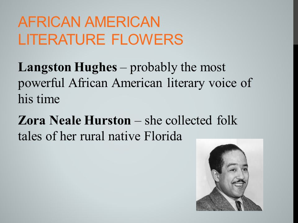 AFRICAN AMERICAN LITERATURE FLOWERS Langston Hughes – probably the most powerful African American literary voice of his time Zora Neale Hurston – she