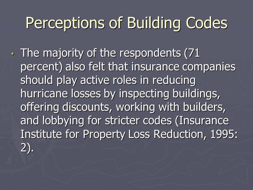 Perceptions of Building Codes The majority of the respondents (71 percent) also felt that insurance companies should play active roles in reducing hur