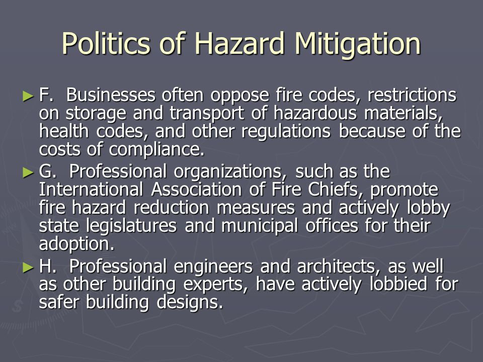 Politics of Hazard Mitigation ► F.