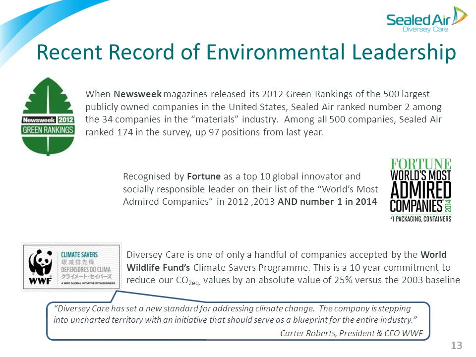 "Recent Record of Environmental Leadership Recognised by Fortune as a top 10 global innovator and socially responsible leader on their list of the ""Wor"