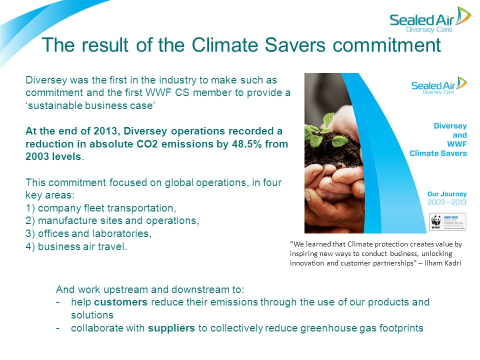 The result of the Climate Savers commitment Diversey was the first in the industry to make such as commitment and the first WWF CS member to provide a