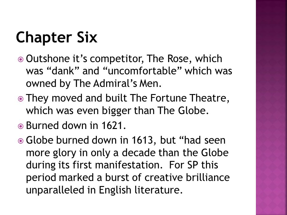 " Outshone it's competitor, The Rose, which was ""dank"" and ""uncomfortable"" which was owned by The Admiral's Men.  They moved and built The Fortune Th"
