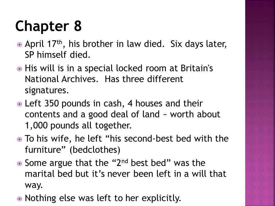  April 17 th, his brother in law died. Six days later, SP himself died.