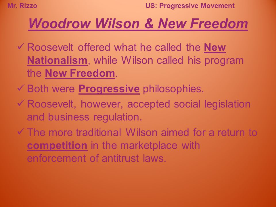 Mr. RizzoUS: Progressive Movement Roosevelt offered what he called the New Nationalism, while Wilson called his program the New Freedom. Both were Pro
