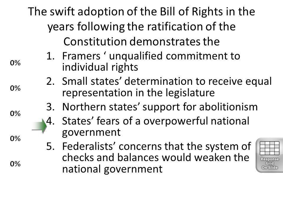 The swift adoption of the Bill of Rights in the years following the ratification of the Constitution demonstrates the 1.Framers ' unqualified commitme