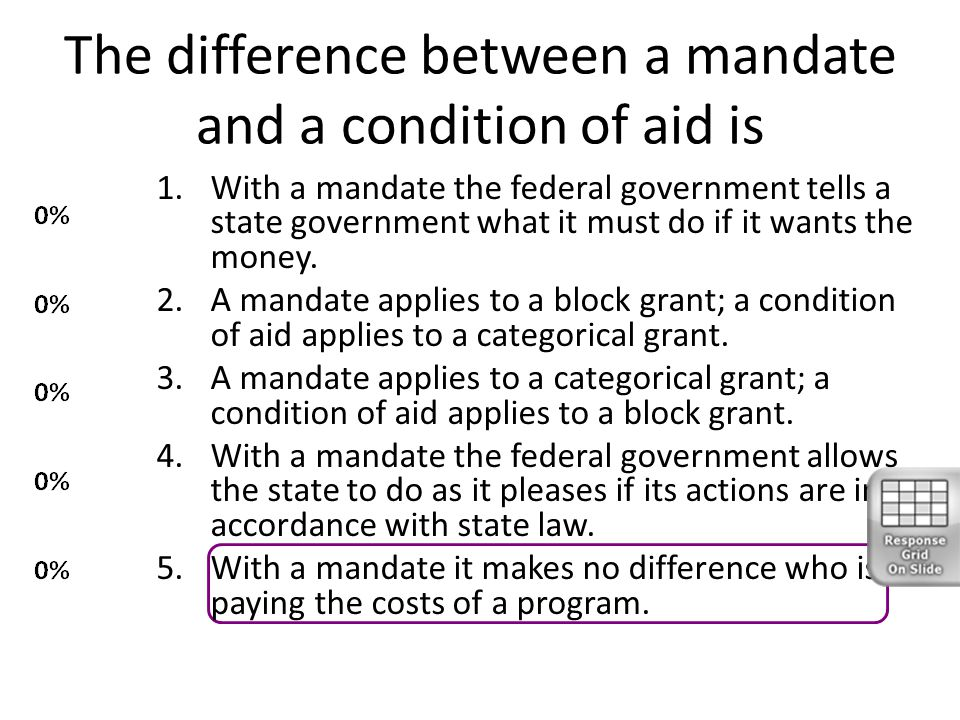 The difference between a mandate and a condition of aid is 1.With a mandate the federal government tells a state government what it must do if it want