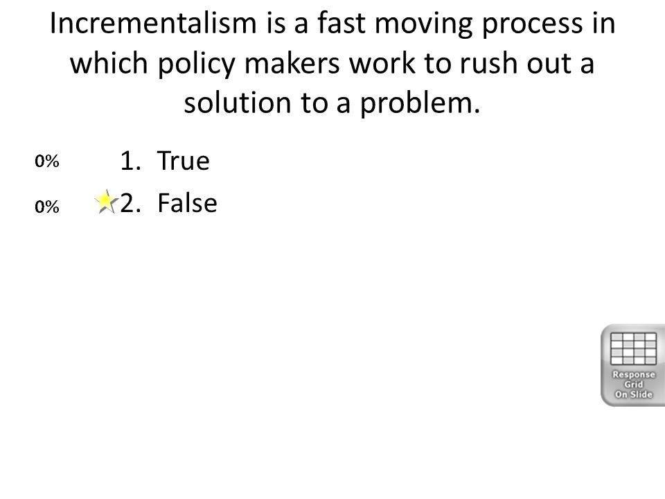 Incrementalism is a fast moving process in which policy makers work to rush out a solution to a problem. 1.True 2.False