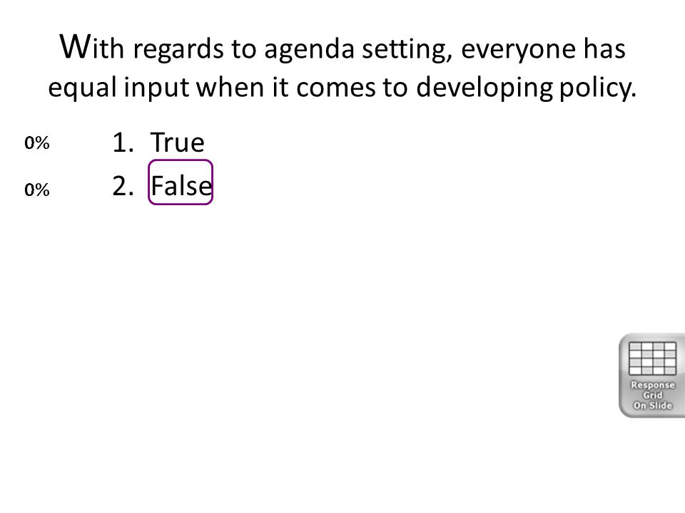 W ith regards to agenda setting, everyone has equal input when it comes to developing policy. 1.True 2.False