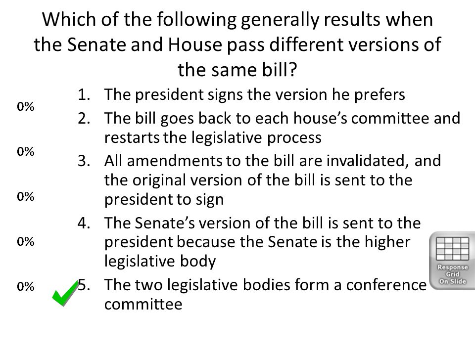 Which of the following generally results when the Senate and House pass different versions of the same bill? 1.The president signs the version he pref