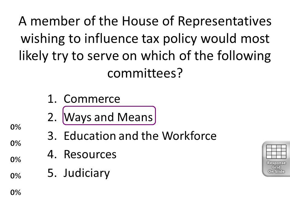 A member of the House of Representatives wishing to influence tax policy would most likely try to serve on which of the following committees? 1.Commer