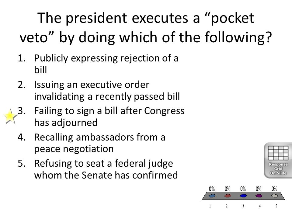 """The president executes a """"pocket veto"""" by doing which of the following? 1.Publicly expressing rejection of a bill 2.Issuing an executive order invalid"""